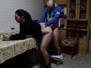 She fucks her while she finishes the dessert